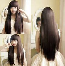 WIG New Fashion Women Girl Dark Brown Cosplay Party Long Straight Hair Full Wigs Free Shipping(China)