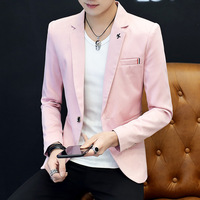 2019 Mens Suits Blazers Fashion Single Button New Casual Men's Muits Men Blazers Long Sleeves Pink Banquet Suits Blazer