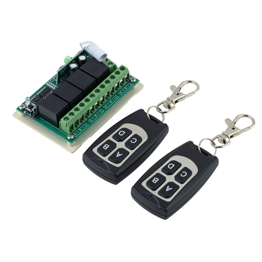 Wholesale 1pcs Wireless 12V 4CH 200M Remote Control Relay Switch Transceiver + Receiver! Drop Shipping smart home us black 1 gang touch switch screen wireless remote control wall light touch switch control with crystal glass panel