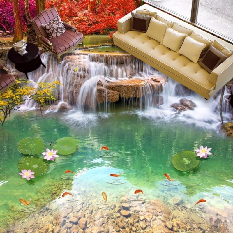 Free Shipping Landscape Waterfall 3D Floor Painting wear non-slip thickened living room study lobby wallpaper mural free shipping orange 3d box floor stereo non slip wear custom thickened living room bedroom wallpaper high quality mural