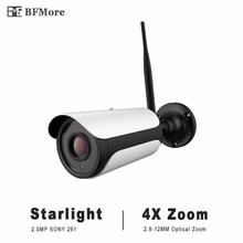 BFMore Optical Zoom WiFi IP Camera Starlight 1080P 2.0MP 2.8-12mm Sony 291 Outdoor Cam SD Storage Wireless Weatherproof Security