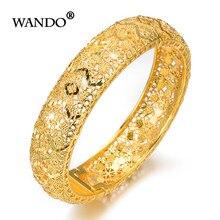 86c8ef7e3213 WANDO más nuevas ventas calientes Color oro ancho pulseras para las mujeres  joyería Dubai brazalete árabe regalos de boda wb153