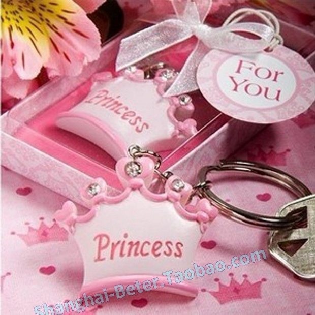 100pcs Free Shipping Pink crown themed princess key chains baby shower  favors BETER-SZ051 Wedding 949889834