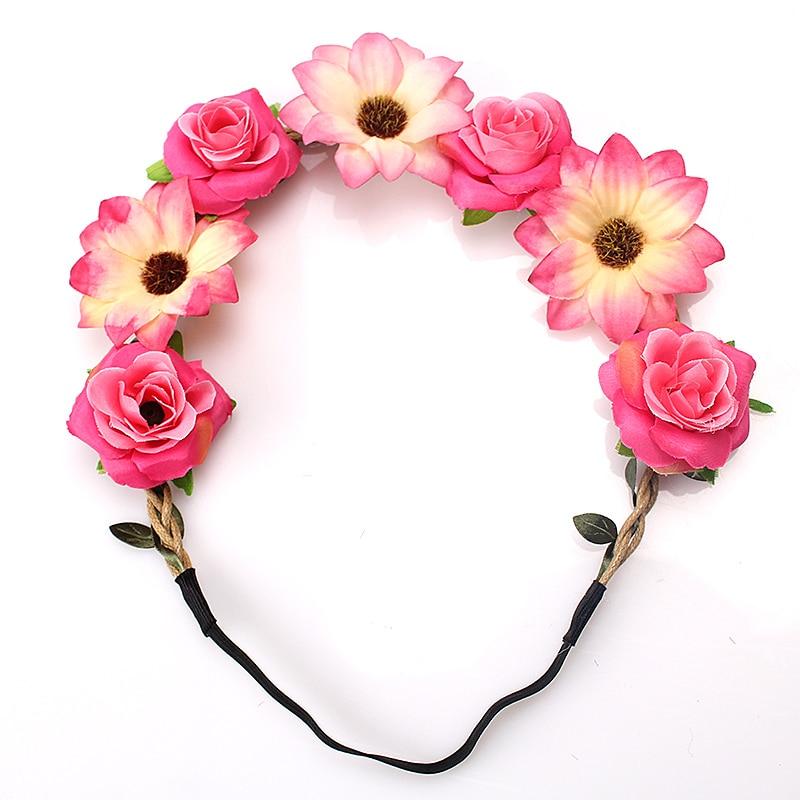 M MISM Gadis Gaya Bohemian Flower Bud Elastis Karet Garland Vine - Aksesori pakaian - Foto 2