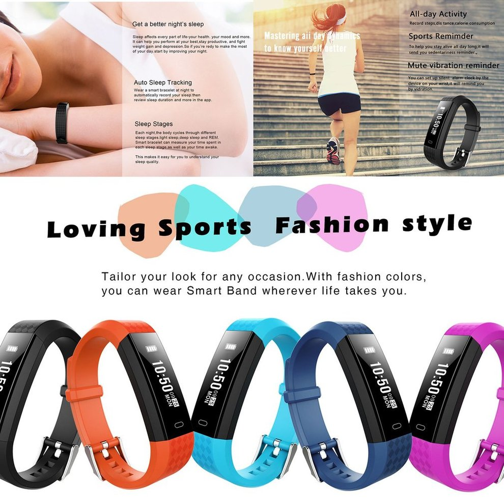 5 Sports Smart Wristband Heart Rate Monitor Waterproof Sports Smart Band Fitness Tracker For iOS For Android Smart Wrist Watch stylish digital sports heart rate monitor wrist watch pink 1 x cr2032