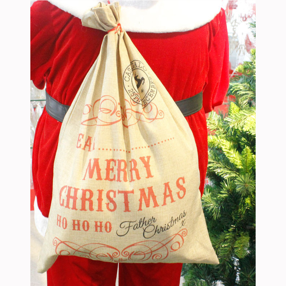 2017 Hot New Product Large Canvas Merry Christmas Music Forest Stocking Gift Storage Bag For Festivals And celebrations
