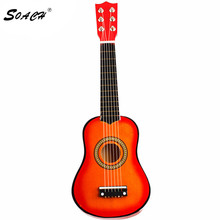 SOACH ukulele 21 Inch 6 String guitarra Acoustic Guitar Kids Beginners Practice Musical toy wooden bass guitar