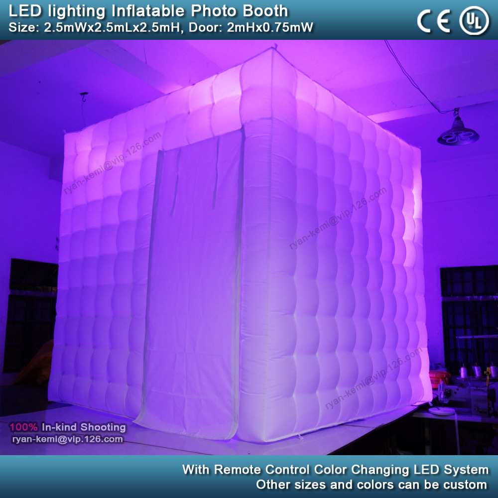 purple 2.5m 8.2ft inflatable photo booth LED lighting portable inflatable photo tent enclosure cube tent with blower