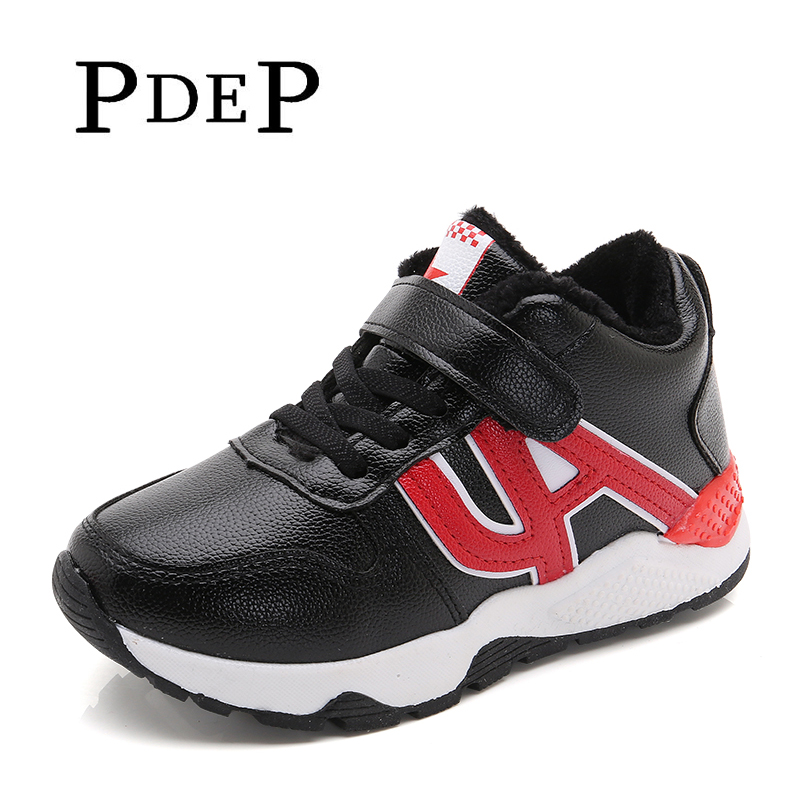 PDEP Black Warm Casual Sneakers In Winter Sewing Soft Warm Plush Casual Boot Sneakers For School Boys With 12 Years Old