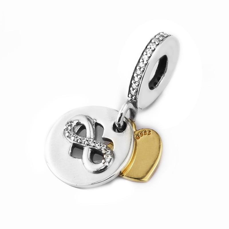 Convient pour Pandora bracelets à breloques 100% 925 Sterling-argent-bijoux coeur de l'infini perles avec couleur or jaune clair