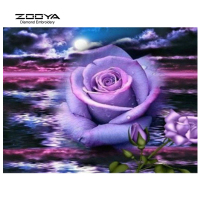 ZOOYA Diamond Embroidery 5D DIY Diamond Painting Purple Rose Flower Diamond Painting Rhinestone Cross Stitch Decoration