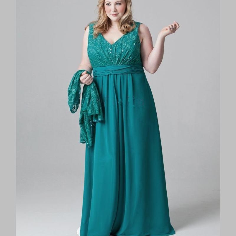 Grande taille vert émeraude mère de la mariée robes dentelle mousseline de soie robe de soirée pour maman avec veste col en V longueur de plancher