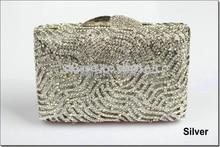 8252S SILVER Crystal Lady fashion Bridal Hollow Metal Evening purse clutch bag case handbag