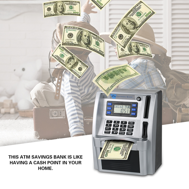 Electronic Money Bank Us Cash Bill Coin Can Saving Banks Simulation Mini Atm Safe Pword Box Toys For Kids Gift