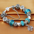 HOMOD 2017 New Style Antique Silver Blue Crystal Life Tree Charm Bracelet fits Brand Bracelet for Women Mother's Day gift