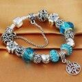 HOMOD 2017 Nuevo Estilo Antiguo Silver Blue Crystal Árbol de La Vida Pulsera Del Encanto adapta Pandora Pulsera para Las Mujeres del Día de la Madre regalo
