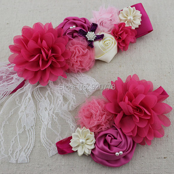 2pcs/set sash and matching headband Fuchsia Ivory and pink Maternity or flower girl Newborn sash Pregnancy photo prop