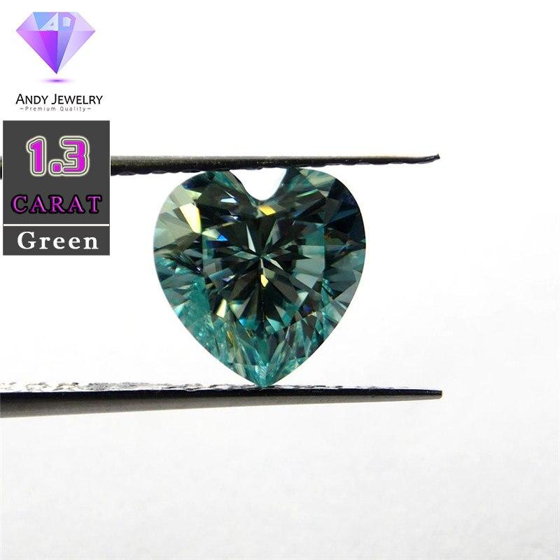 7.5*7.5mm 1.3 Carat Green color Moissanite heart Brilliant cut Sic material similar to diamond7.5*7.5mm 1.3 Carat Green color Moissanite heart Brilliant cut Sic material similar to diamond