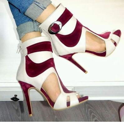 Drop Shipping 2017 Hot Summer Sexy Women White Red Wine Patchwork Gladiator Cuts Out Peep Toe Zip Back Stiletto Heel Party Pumps коляска esspero summer line wine red sl010a 108068266