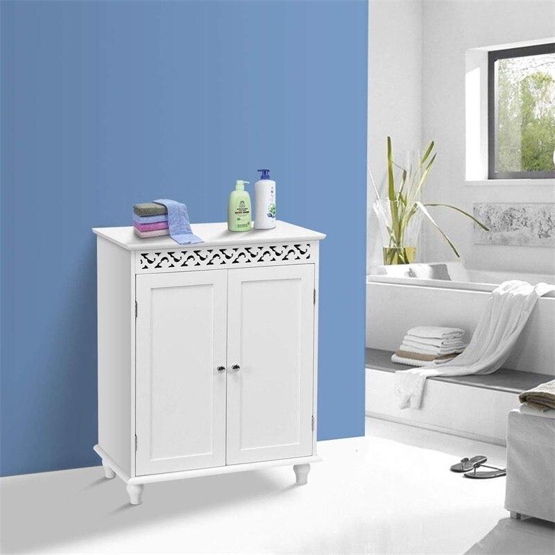 White Wooden 2-Door Floor Storage Cabinet Cupboard Water-resistant MDF Board UV Paint Bathroom Cabinets Furniture HW55974