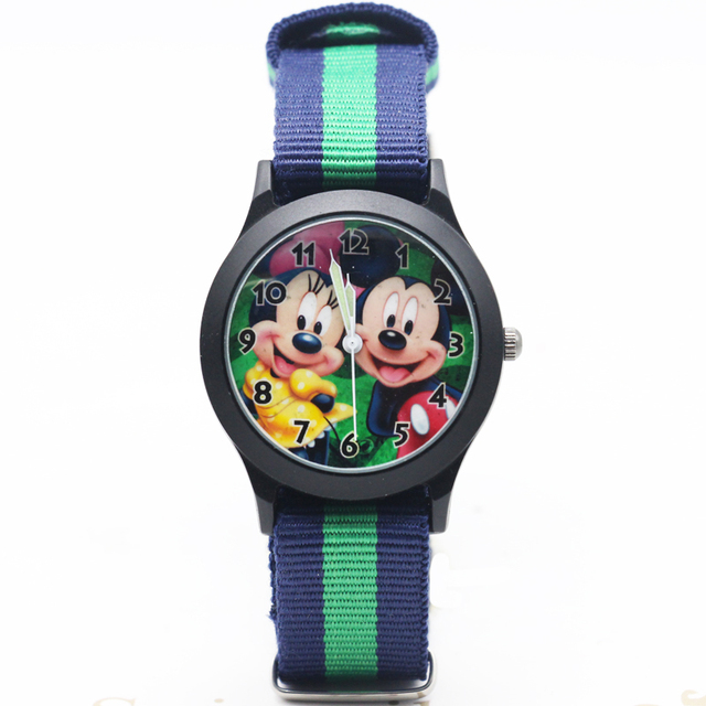 2017 Newest Cartoon Cut Mickey Minnie kids Nylon Strap Clock Watch Girls Student