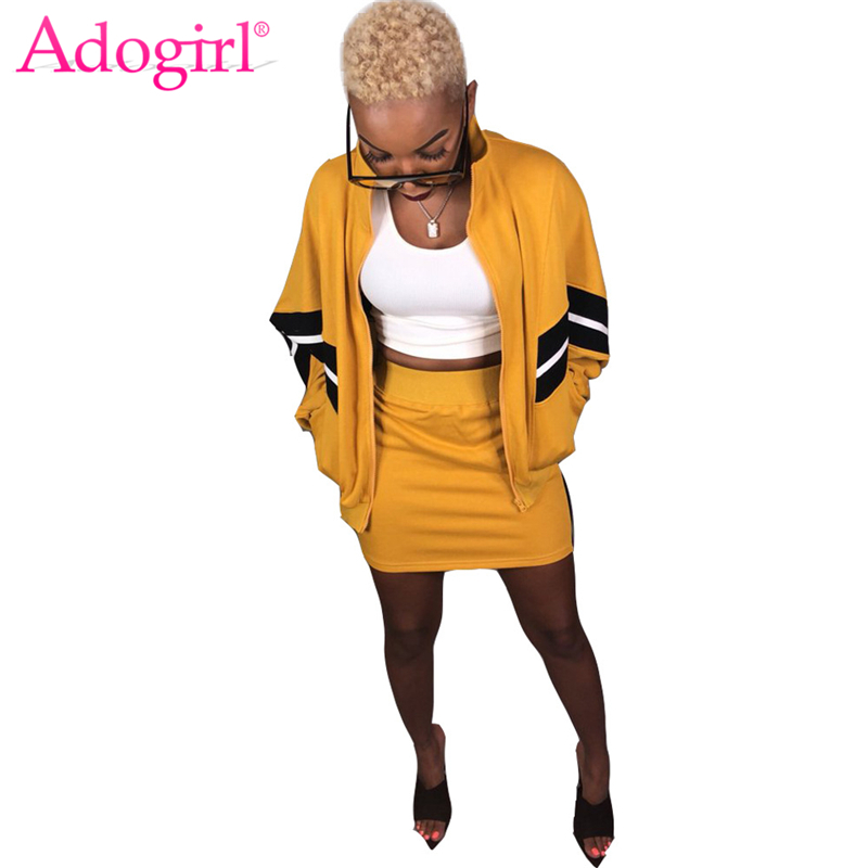 Adogirl Patchwork Women Tracksuit Zipper Long Sleeve Loose Bomber Jacket Coat Top Bodycon Mini Skirt Casual Two Piece Set Outfit