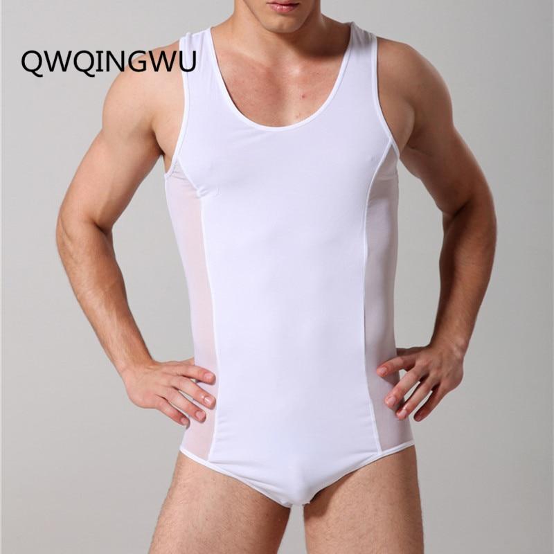 Buy Man Undershirts Sexy Underwear Male Mesh Ice Silk Bodysuit Basic Shirts Gay Fitness Transparent Undershirts Bodywear Sleepwear