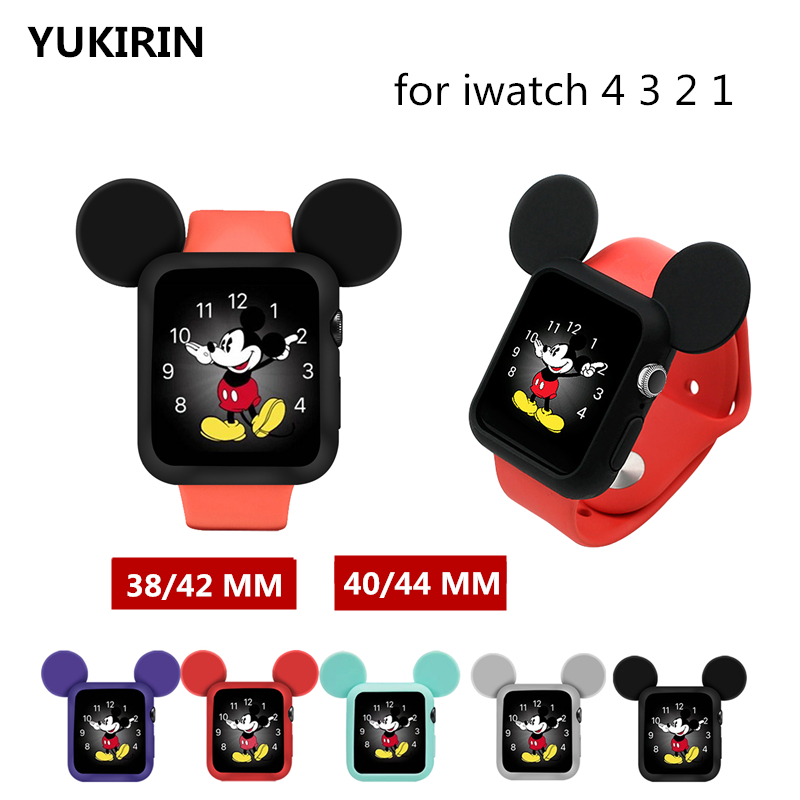 YUKIRIN  Cartoon Mouse Soft Silicone Band Case For Apple Watch Iwatch Rubber Series 5 4 3 2 1 Cover 38 42mm 40 44MM For Girl Kid