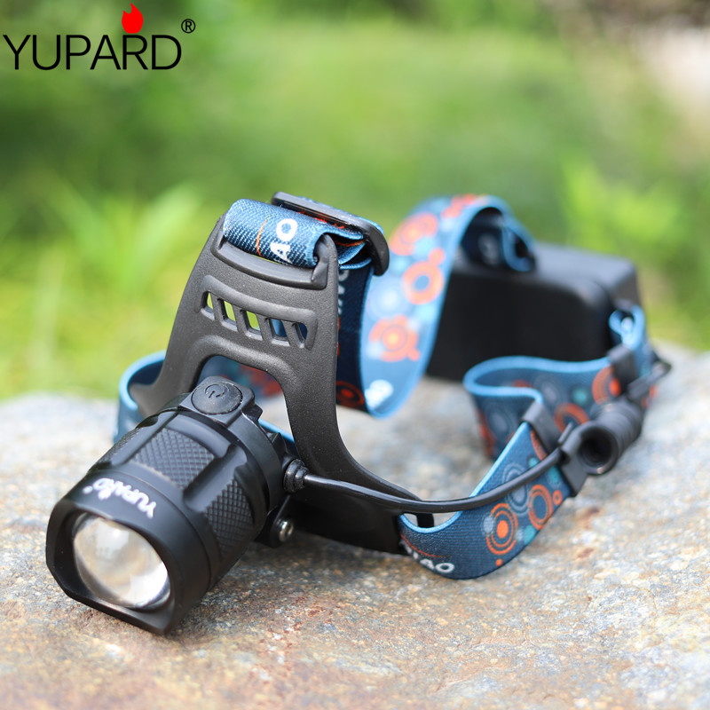 Купить с кэшбэком YUPARD high power XM-L2 LED T6 LED headlight camping Headlamp as power bank output input+2*18650 batteries+USB charging line