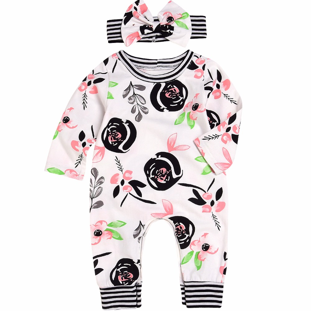 Baby Rompers Fashion Newborn Baby Boy Girl Romper Floral Jumpsuit Overalls Clothes Baby Clothes Cotton Outfits 0-24M