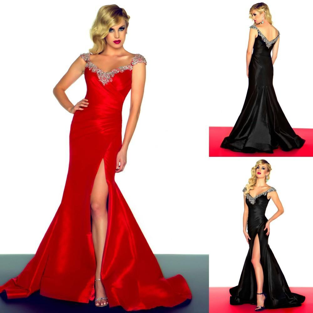 74103649 discount red sparkly dress mermaid prom dresses 2015 cap sleeve celebrity  gown cape sleeve mermaid floor length satin black