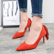New Brand Sweet Tassel Style Women Pumps Thin High Heel Pumps Shoes For Women Pointed Toe Sexy Party Wedding Woman Shoes ZX2.5
