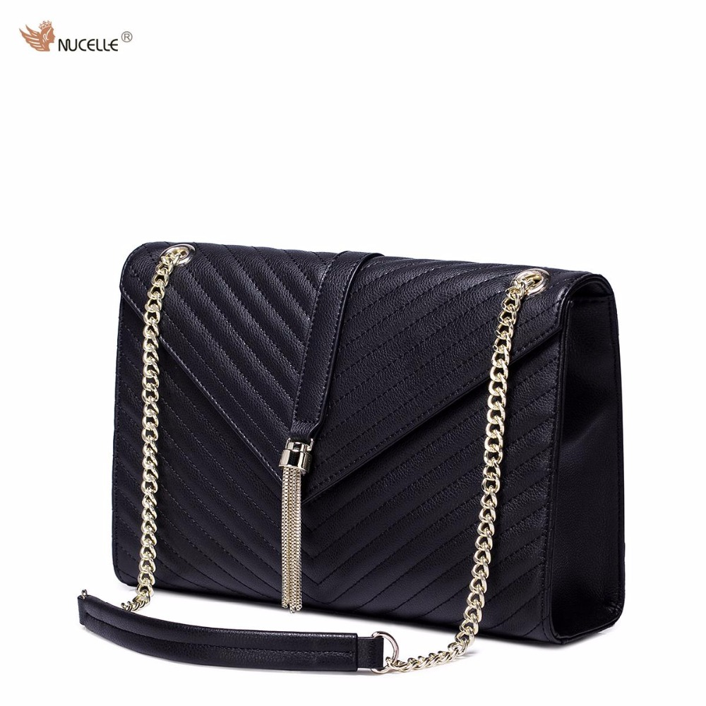 ФОТО NUCELLE Brand Design Fashion Women Cow Leather Ladies Girls Chains Shoulder Feminine Bag Cross body Bags With Tassels