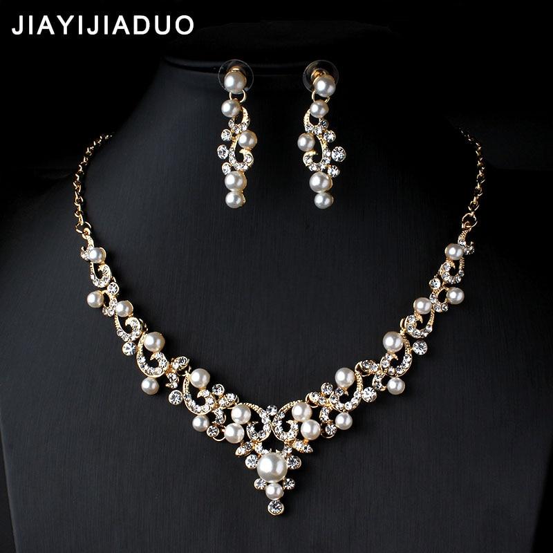 jiayijiaduo Crystal Bridal Jewelry Set Gold Color Imitation Pearl Rhinestone Women's Party Necklace Set Wedding Jewelry Direct