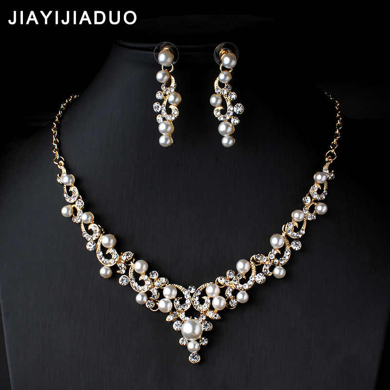 jiayijiaduo Crystal Bridal Jewelry Set Gold Color Imitation Pearl Rhinestone Women's Party Necklace Set Wedding Jewelry Direct
