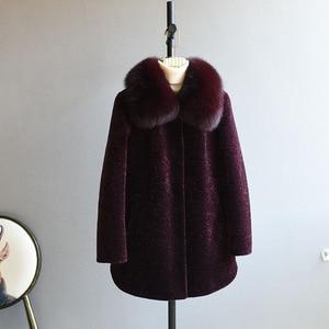 Image 2 - OFTBUY 2020 חורף מעיל נשים אמיתי פרווה מעיל גז כבשים מעיל נשי צמר בגיל העמידה אמא טבעי שועל פרווה צווארון עבה חם
