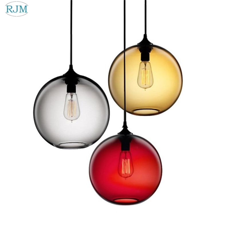 Modern Creative Colorful Glass Pendant Lamp Simple LED Hanging Lights For Living Room Restaurant Bar Cafe Home Lighting Decor