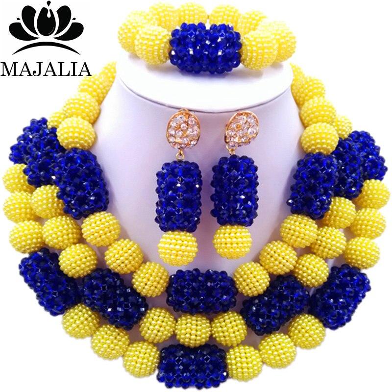 все цены на Majalia Fashion Charming Nigerian Wedding African Jewelry Set Yellow and Royal blue Crystal Necklace Bride Jewelry Sets 3SZ087 онлайн
