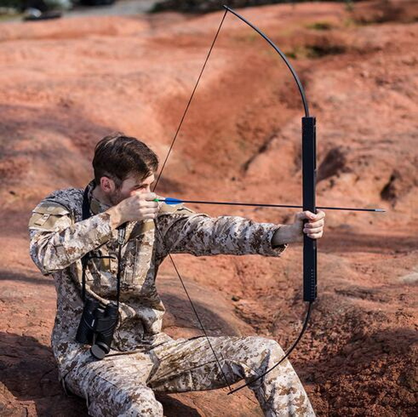 40 50 60lbs Black Folding Bows Archery Hunting Shooting Straight Bow and Arrows Aluminum Alloy Bow Riser Portable Survival Tools 40lbs archery hunting shooting bow take down bows and arrows right hand for adult sling shot aluminium bow riser