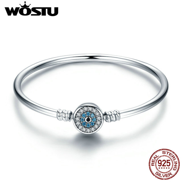 WOSTU 100% 925 Sterling Silver The Eye Of Samsara Bangle For Women Fit DIY Charm Bracelets Fashion Jewelry CQB012