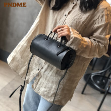 PNDME black genuine leather cylinder ladies shoulder bag cowhide simple handbag crossbody bags for womens fashion tote