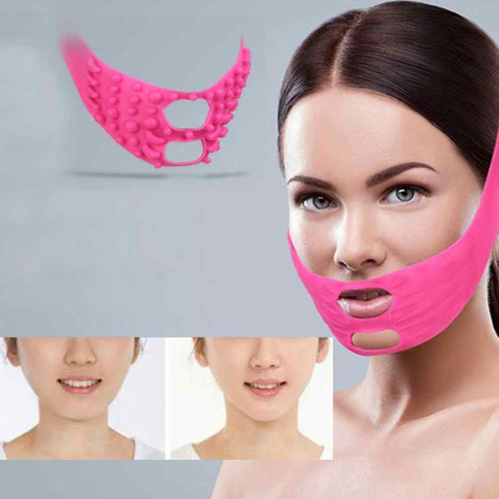 Silicone Thin Face Mask Massage Point Tightening Facial Massage Bandage  Reduce Wrinkles V Face Change Double Chin Mask