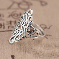 GZ 925 Sterling Silver Hollow Ring Anillos Good Luck Flower S925 Open Size Adjustable Thai Silver