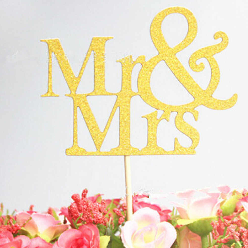 Dessert Cards Insert Card Mr Mrs Personalized Cake Topper Party Cake Decoration Two Colors Optional