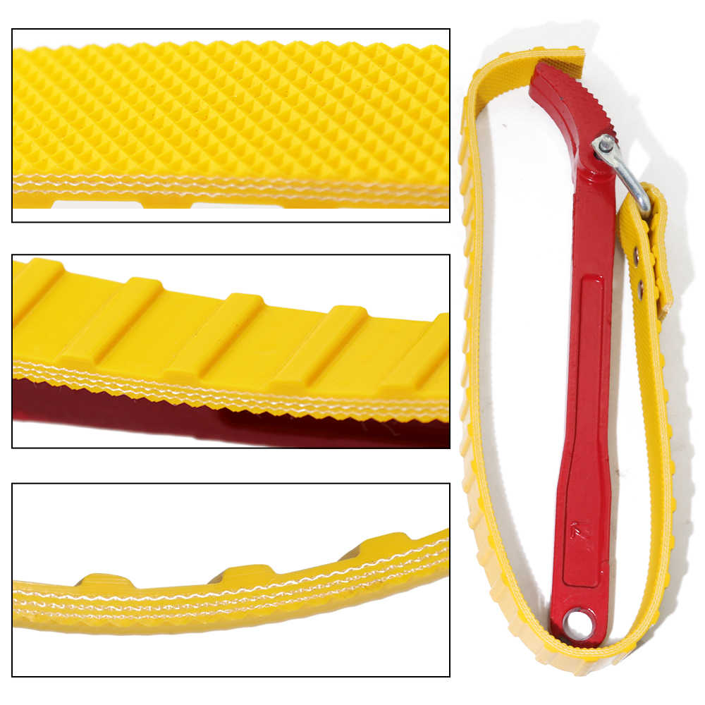 KUNTEC 12 Inch Strap Wrench Pipe Strap Wrench Oil Filter Handle Belt Strap Anti-Sliding Wrench