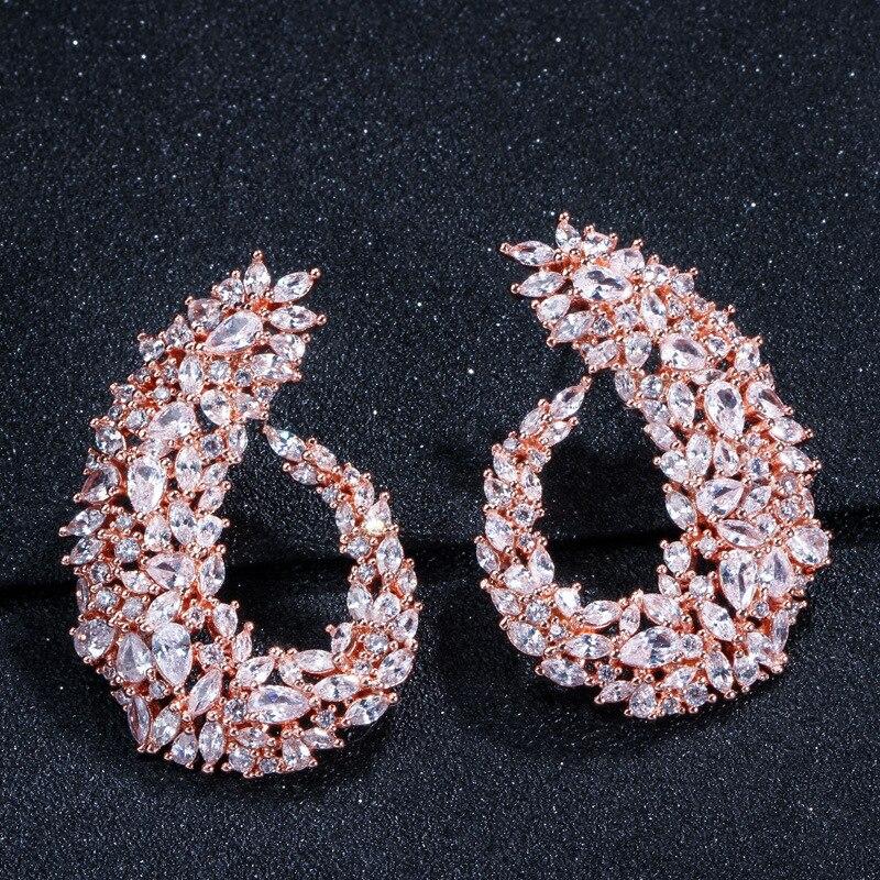 OUSNOW marque de mode haut de gamme luxe feuille boucles d'oreilles sertie de zircon tempérament sauvage oreille bijoux pour les femmes - 3