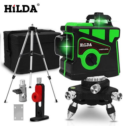 HILDA лазерный уровень 12 линий 3D уровень самонивелирующийся 360 горизонтальный и вертикальный крест супер мощный зеленый лазерный уровень - Цвет: SET6