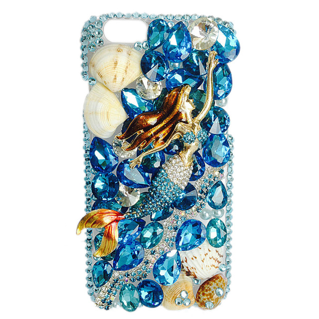 ddae65b414 Mermaid Pattern Phone Case for iphone 5C Mobile Phone Shell New Diamond Decor  Rhinestone Protective Phone Case for Ladies