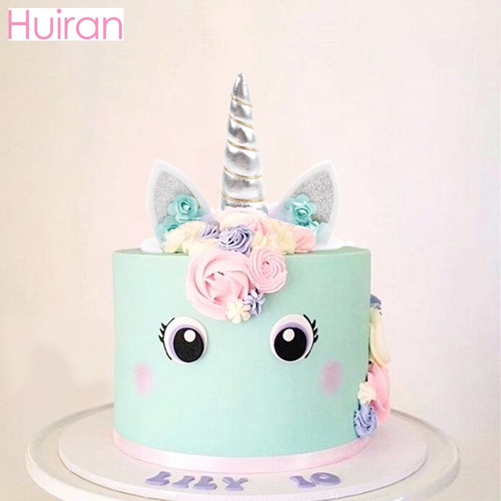 Surprising Huiran Unicorn Horn Cake Topper Unicorn Birthday Party Decor Kids Funny Birthday Cards Online Unhofree Goldxyz