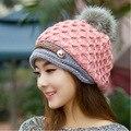 Moda Coreana de Las Mujeres Skullies Sombrero de Lana de Alta Calidad, Además de Terciopelo de Punto Hembra Sombrero Gorras Sombreros de Invierno de Las Mujeres de la Gorrita Tejida Sombrero Caliente